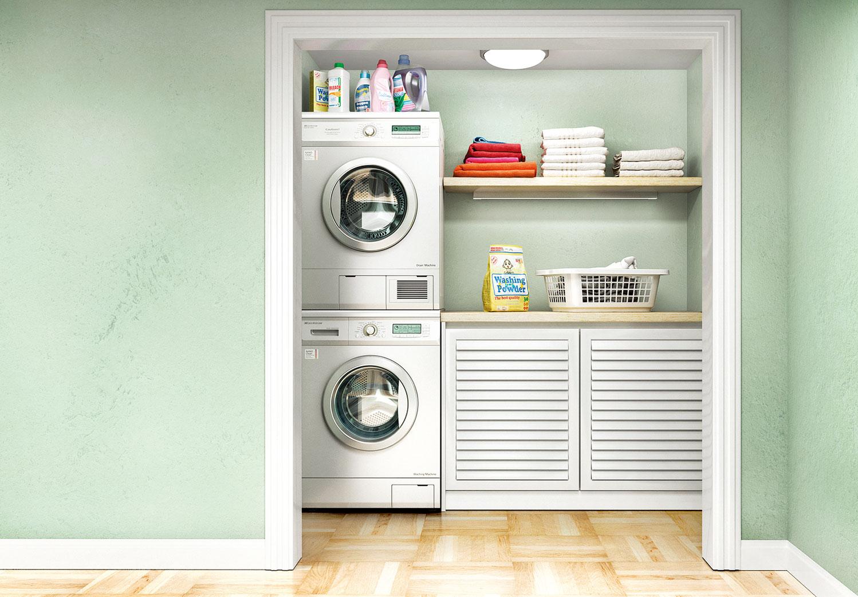 洗衣機跟烘乾機直立置於壁櫃中,可以節省空間。(shutterstock)