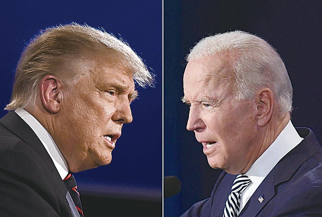 兩黨總統候選人特朗普和拜登於2020年10月22日舉行第二場也是最後一場辯論。(JIM WATSON,SAUL LOEB/AFP via Getty Images)
