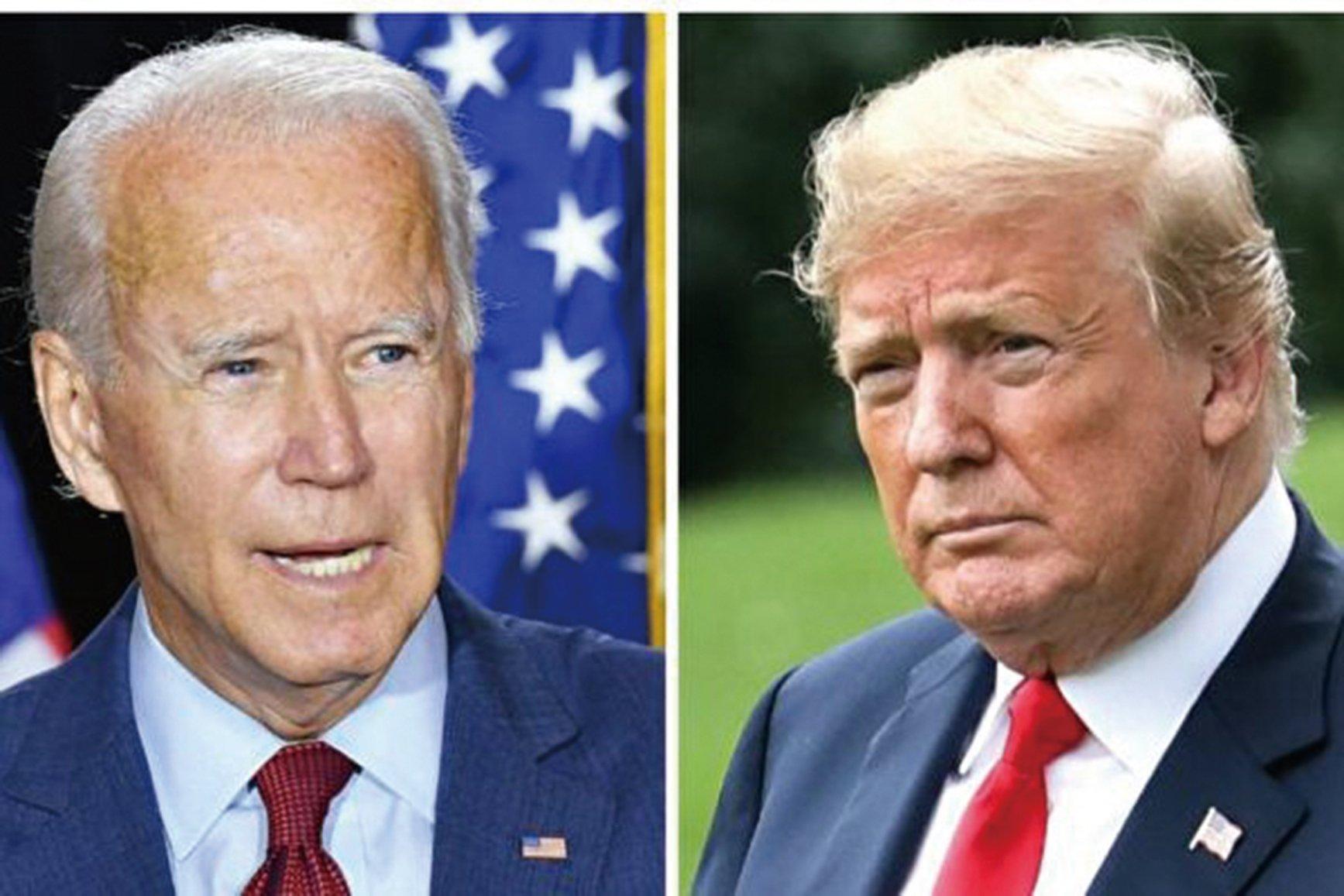 兩黨總統候選人特朗普和拜登於2020年10月22日舉行第二場、也是最後一場辯論。(Mandel Ngan/AFP/Getty Images;Samira Bouaou/大紀元)