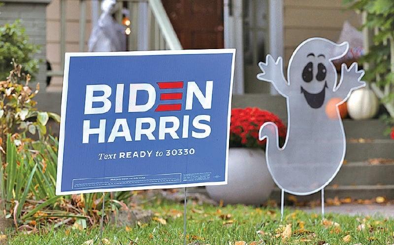 田納西州一名拜登支持者屋前裝飾。(Justin Sullivan/Getty Images)