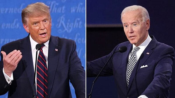 2020年9月29日,美國總統特朗普和民主黨總統候選人拜登在俄亥俄州克利夫蘭市凱斯西儲大學參加首次總統辯論。(Win McNamee-Scott Olson/Getty Images)