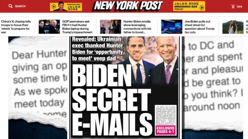 10月14日,《紐約郵報》報道披露了亨特拜登(Hunter Biden)電腦上的多張照片,以及他的一些私生活細節。(《紐約郵報》網頁截圖)