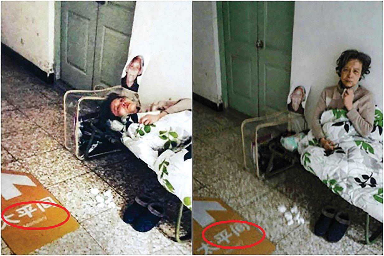 上海訪民孫洪琴住在停放母親遺體的太平間門外。(受訪者提供)