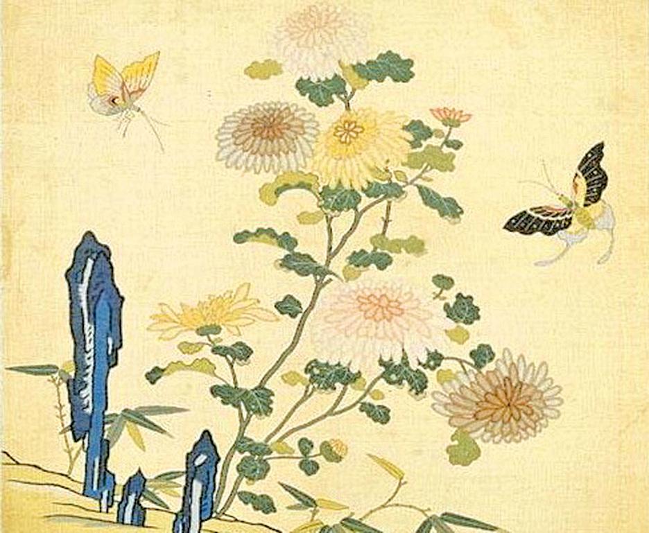 〈刻絲花卉冊.菊花雙蝶〉(公有領域)