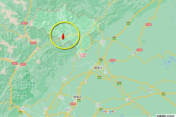 2020年10月22日,四川綿陽市北川縣(圖中黃色圈內圖標處)再次發生4.7級地震。(Google地圖)