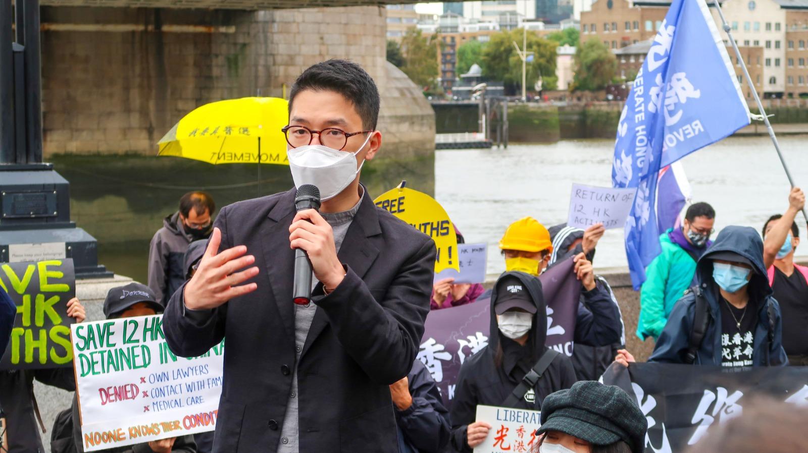 羅冠聰抵達倫敦後首次在公開活動現身並發言,表示大家「對香港的民主運動有一份責任,還有一份義務,因為我們是香港人。」(Belle Cheng攝/大紀元)