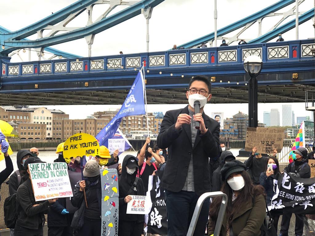羅冠聰抵達倫敦後首次在公開活動現身並發言,「離港時已決心長期抗共。」(文沁攝/大紀元)