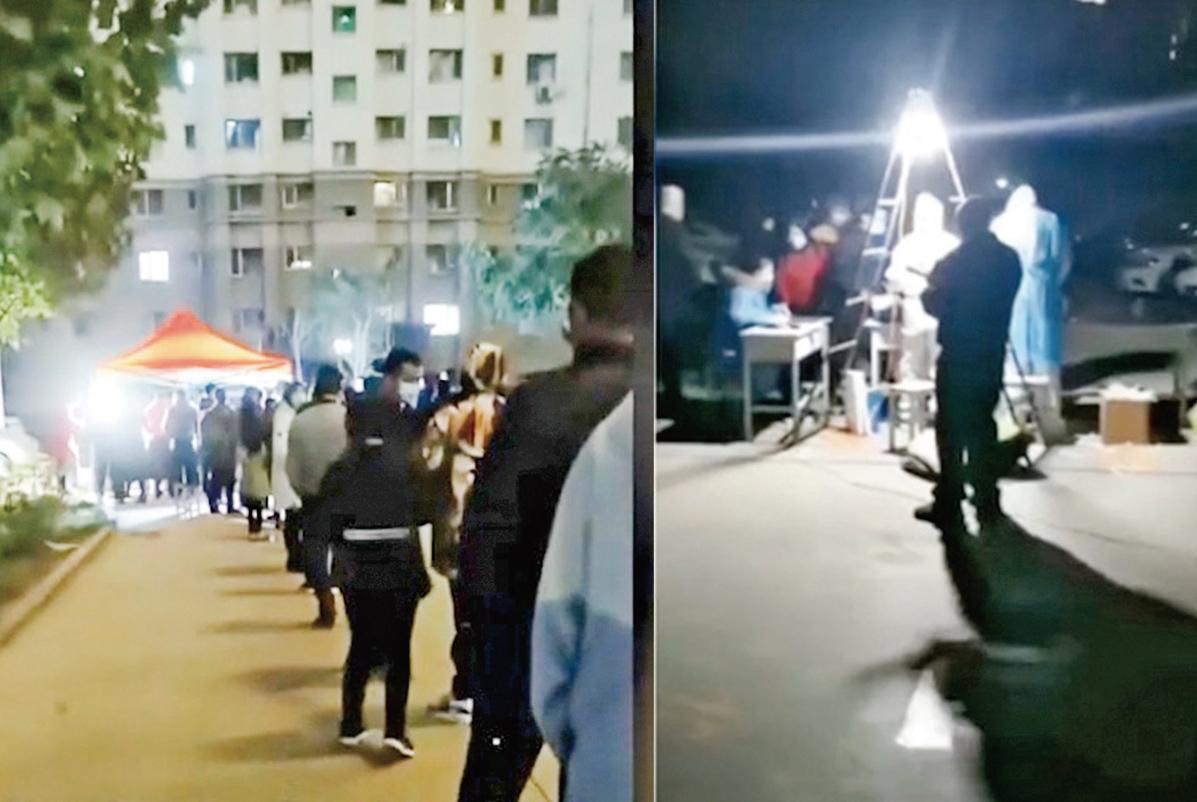 新疆喀什10月25日新增137例無症狀感染者。網傳影片顯示,當地民眾連夜做核酸檢測。(影片截圖)