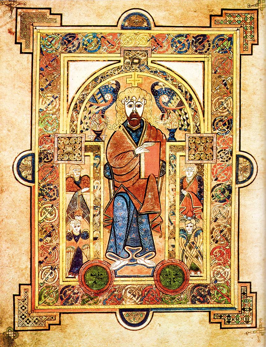 《凱爾經》(Book of Kells)第32頁左頁中的基督登基圖。愛爾蘭國家博物館、愛爾蘭王家科學院和都柏林聖三一學院。(公有領域)