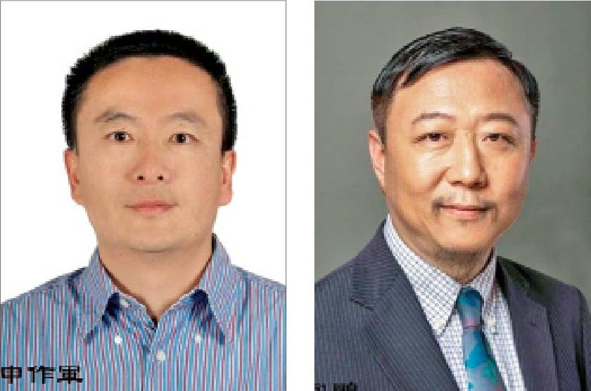 申作軍是黨委委員和「千人計劃」人選(左)。宮鵬(右)與香港大學現任校長張翔是大學校友。(網絡截圖)