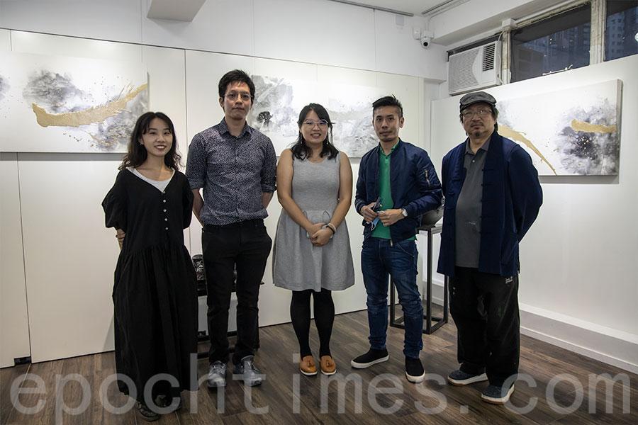 左起:藝術家梁凱雅、伍嘉浩、李瓔玥、林仲文和馬志恒。(陳仲明/大紀元)