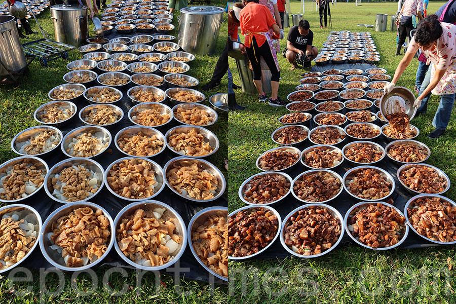 廖氏族人一般上午到墓地祭祀後,下午到鳳溪學校聚餐食盆菜。(廖崇興提供)