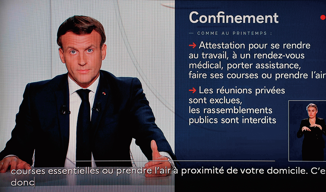 10月28日晚上,法國總統馬克龍(Emmanuel Macron)在巴黎向全國發表電視講話,宣佈實施新的全國封鎖。(AFP)