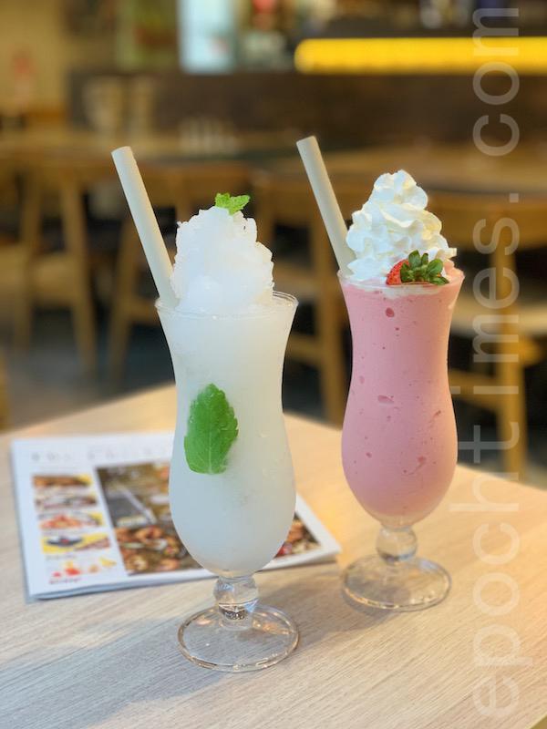 草莓乳酪沙冰和青檸薄荷沙冰。(Siu Shan提供)