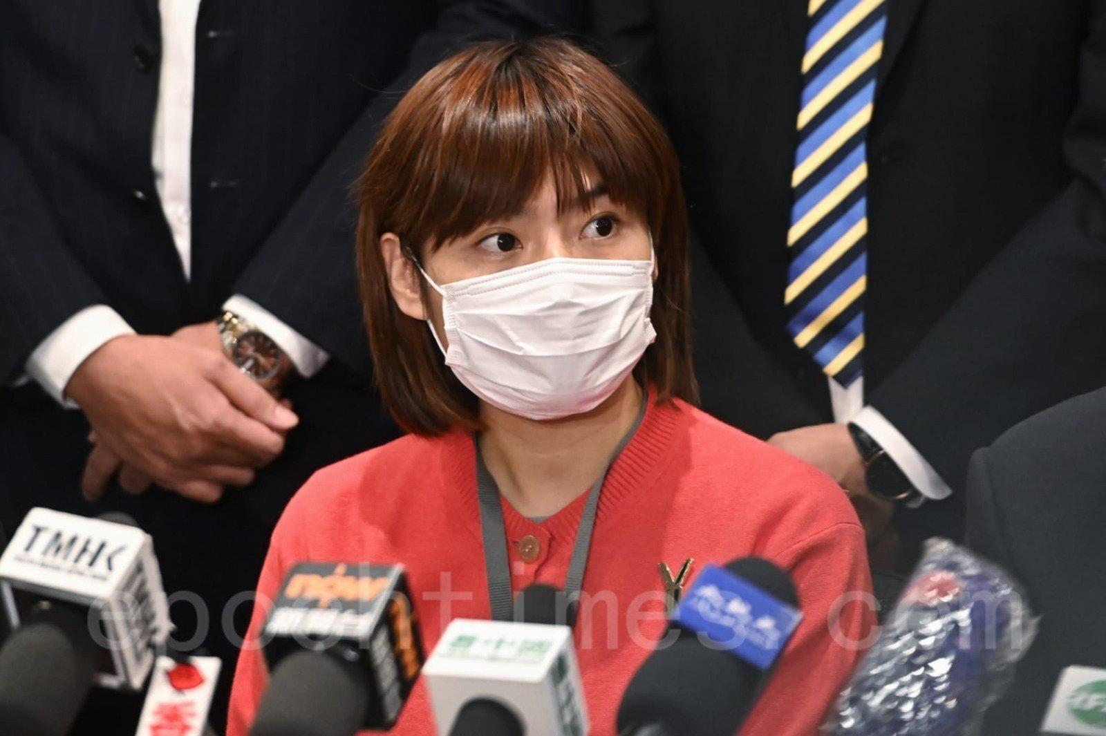 國泰空中服務員工會主席王思敏指,工會已正式入紙申請下周三於國泰城外舉行集會。(宋碧龍/大紀元)