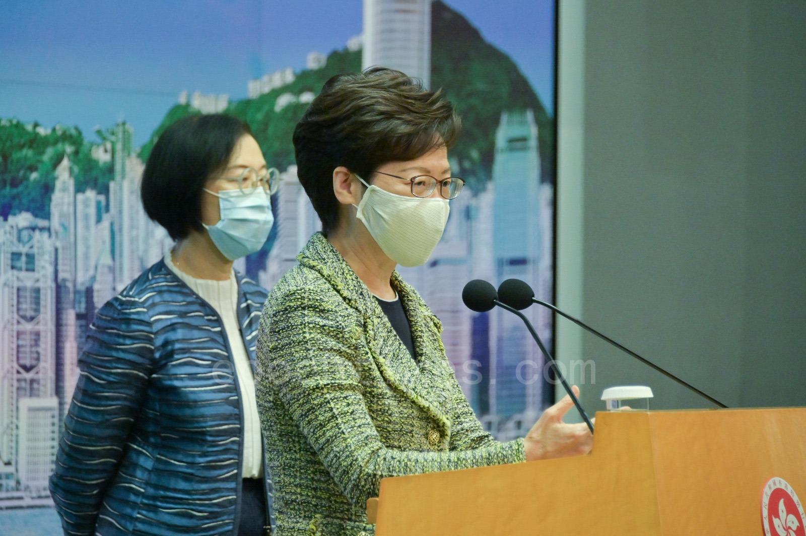 11月3日,林鄭表示,要求一段時間內「零個案」有一定難度,並公布三項最新病毒檢測措施。(郭威利/大紀元)