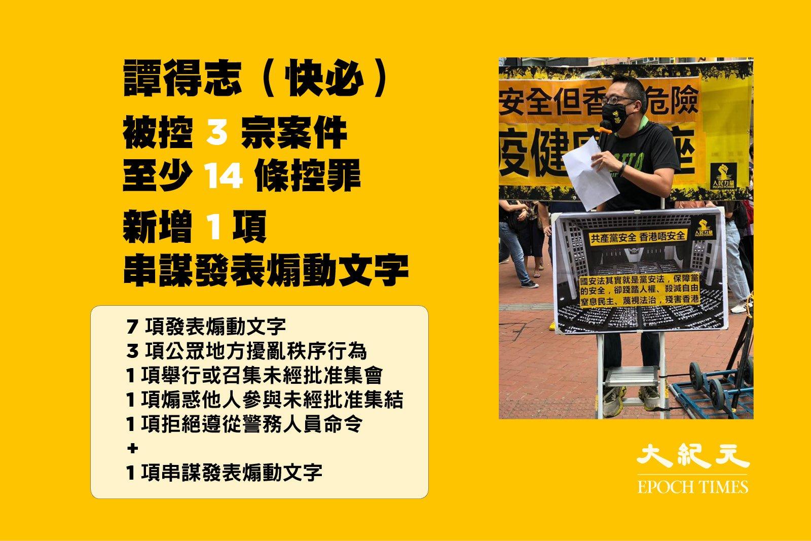 譚得志被控「發表煽動文字」等14項控罪。(大紀元製圖)