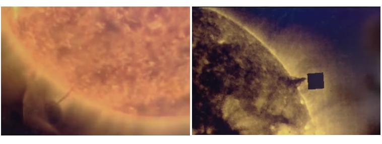 在2016年8月出現的神秘立方體(右圖),從圖像中發現其看起來很像在吸取太陽的能量;2012年(左圖)也曾出現過圓形的不明飛行物體(UFO)吸取太陽的能量影片,它吸完之後就離開了。(影片截圖)
