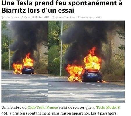 周一(15日),一輛特斯拉Model S在法國試駕時,突然起火自燃,令特斯拉電動車的安全性再受質疑。(automobile-propre.com網頁擷圖)