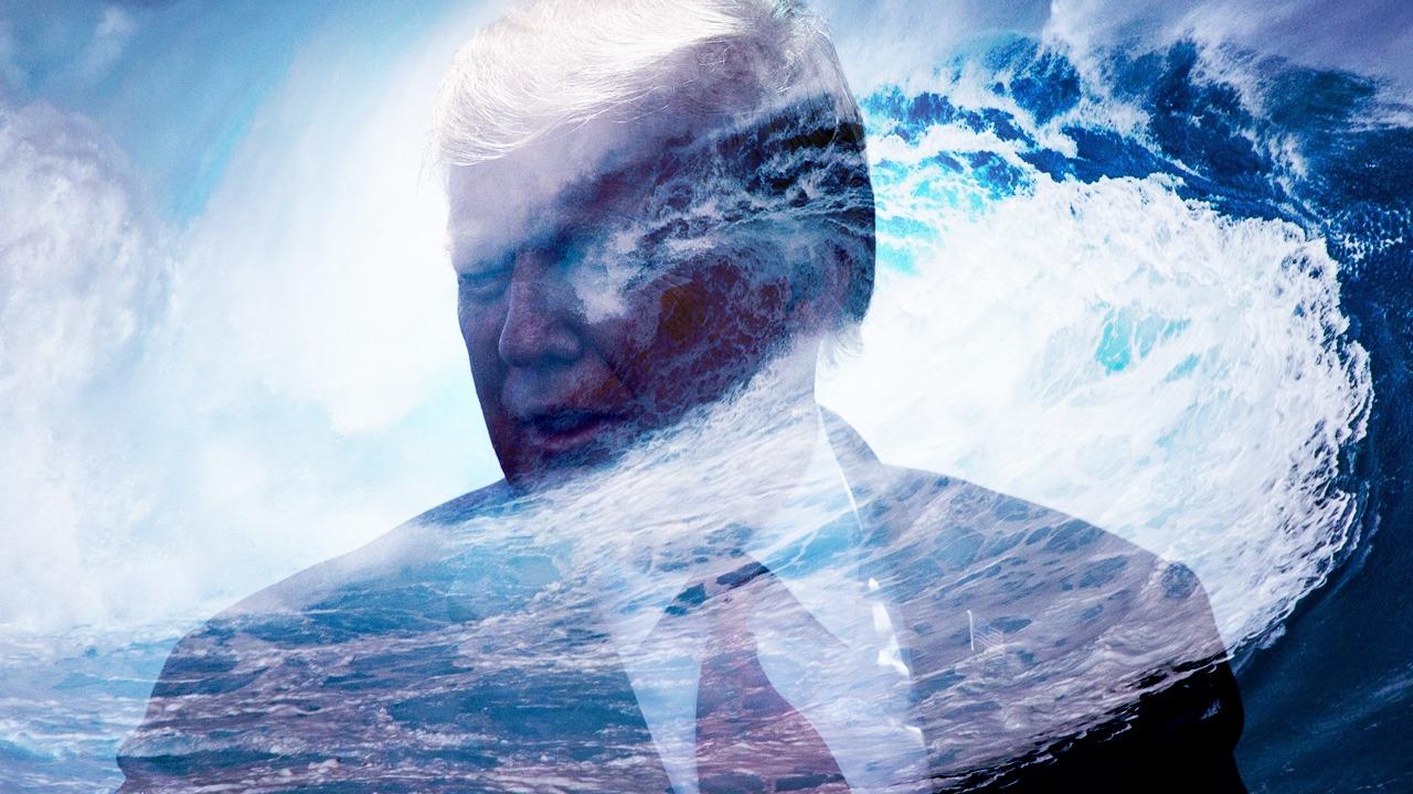 民間高人預言,天地人神助總統特朗普,連任當選板上釘釘。圖為2020年10月26日,特朗普在賓州舉行的造勢大會上發言。(大紀元製圖)