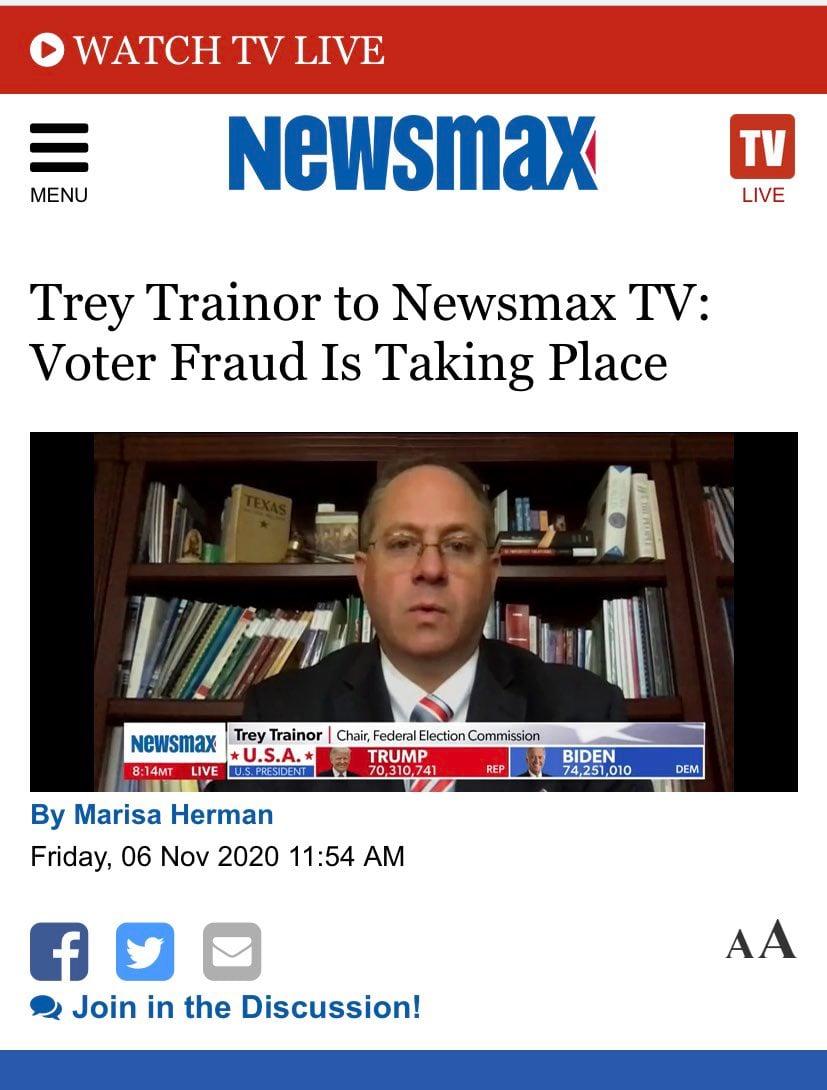 聯邦選舉委員會(FEC)主席特雷‧特瑞納(Trey Trainor)接受採訪稱選舉存在舞弊。(網頁截圖)