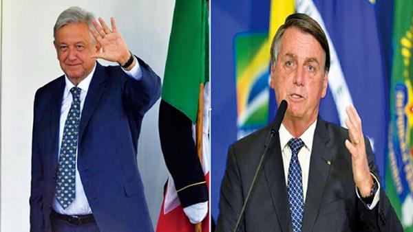 墨西哥總統洛佩斯奧夫拉多爾(左)、巴西總統博爾索納羅(右)。(圖左NICHOLAS KAMM/AFP via Getty Images、圖右Andressa Anholete/Getty Images)