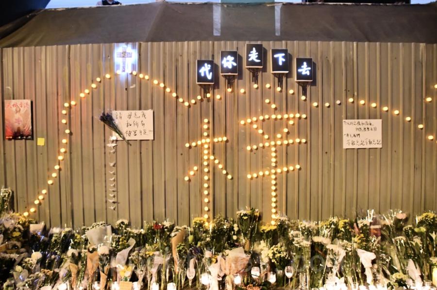 【組圖】周梓樂逝世周年 市民無懼國安法高呼光復香港