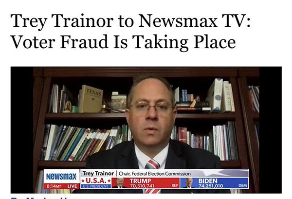 美聯邦選舉委員會主席:選舉欺詐正在發生