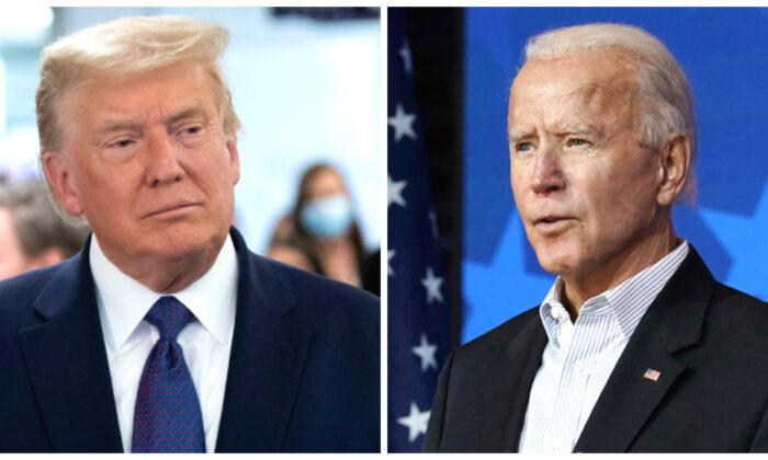 美國大選疑雲重重,民主黨被揭露通過舞弊竊取大選,多家美國媒體跟進為其背書,宣佈拜登勝選。特朗普怒斥媒體是『濁流媒體』。特朗普(左)(Saul Loeb/AFP via Getty Images)和拜登(右)(Carolyn Kaster/AP Photo )