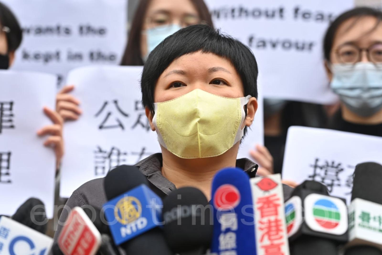 蔡玉玲向傳媒表示,警方此次高調拘捕查冊記者,所造成的效應顯然不僅及於她一個人,希望港台展現傳媒機構風骨,勇於出面承擔事件。(宋碧龍/大紀元)