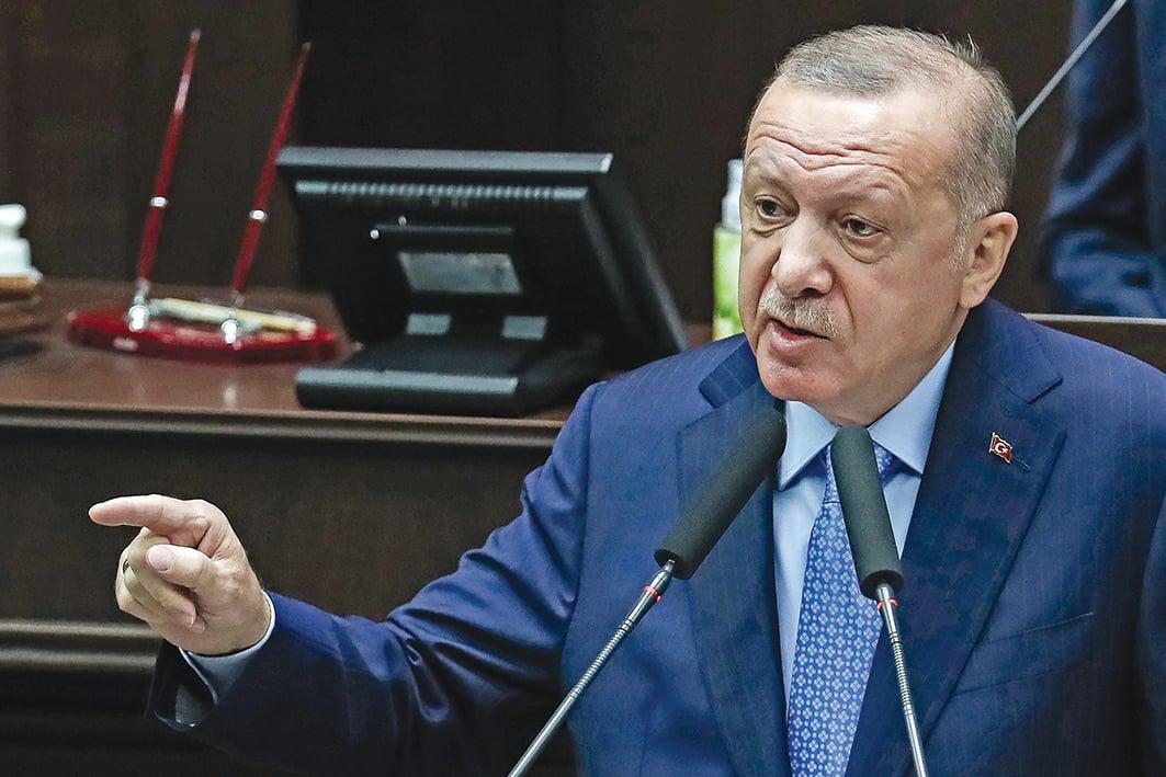 11月11日,土耳其總統埃爾多安在安卡拉舉行的土耳其大國民議會黨組會議上發表講話。(AFP)
