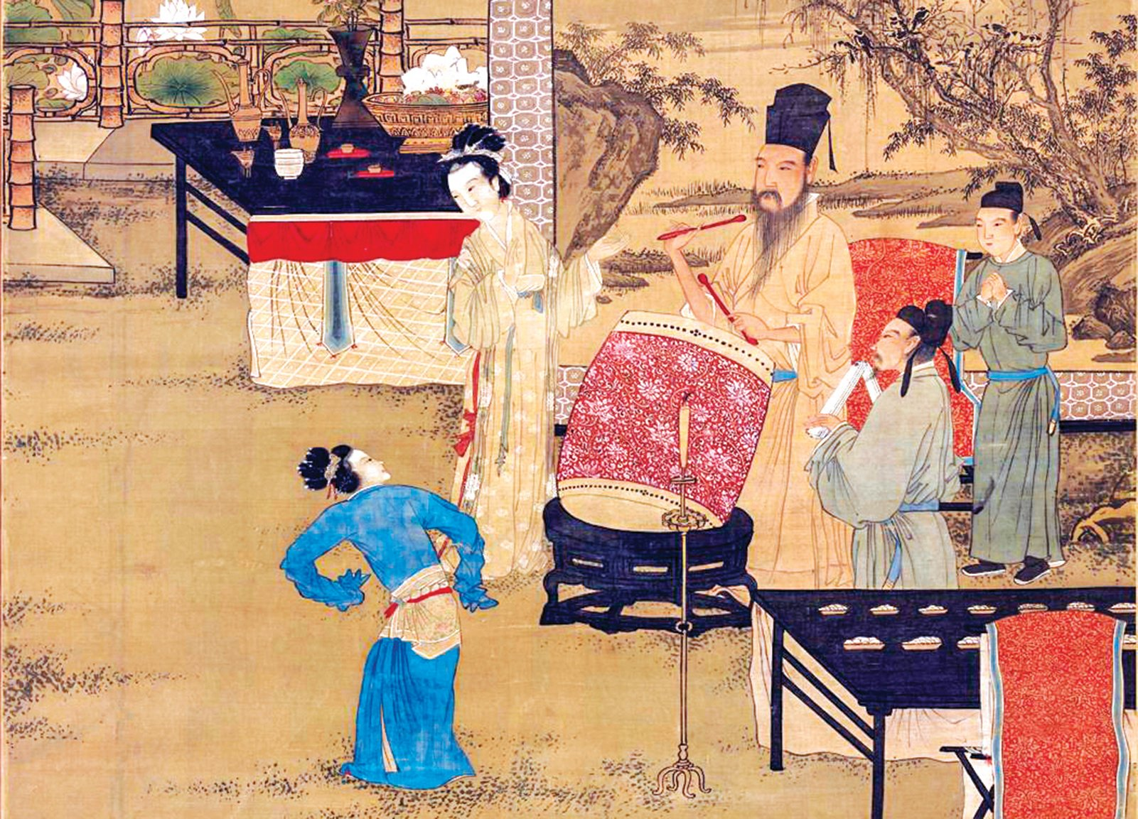 圖為明‧唐寅畫《韓熙載夜宴圖》,右一為行叉手禮的青衣男子。(台北故宮博物院)