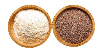 洋車前子皮殼(右)磨製成粉末是洋車前子粉(左)。