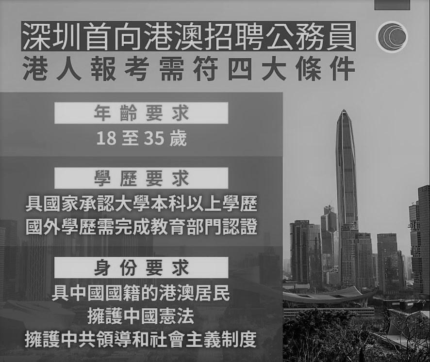 深圳當局指定應聘的港人必須具備四大條件。(網頁截圖)