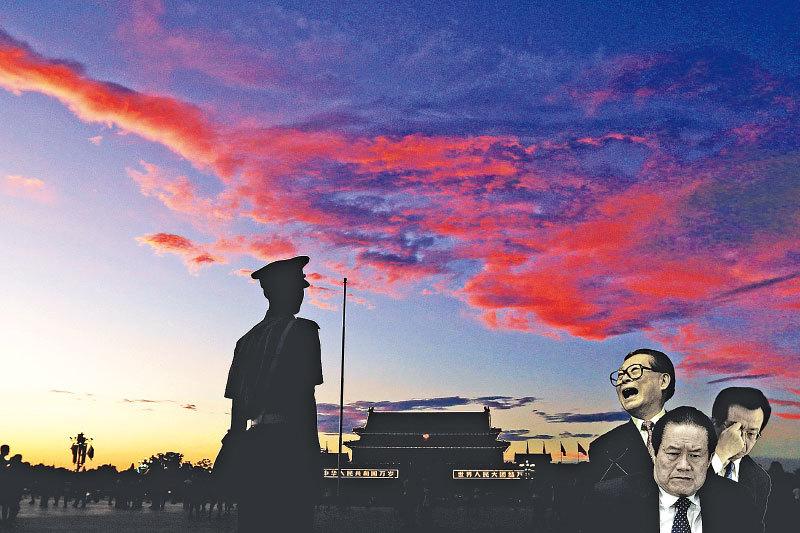 中共十八大之後江澤民集團針對習近平持續發動的涉及「軍事、經濟、文宣」等方面的連環政變。(大紀元合成圖片)