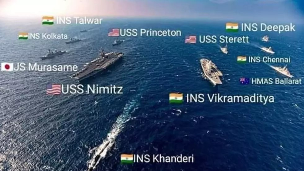 11月17日起,美、日、印、澳四國聯合軍演進入第二階段,美印雙航母出動。(網絡圖片)