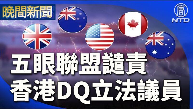 11月18日,五眼聯盟國家聯合聲明,譴責香港DQ立法議員。(大紀元截圖)