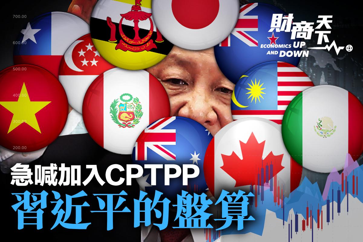 APEC會議落幕,習近平喊出又要加入CPTPP協定。分析認爲,這是習近平在向拜登及其支持者釋放信號;也預示中共「內循環」策略要泡湯。(大紀元製圖)