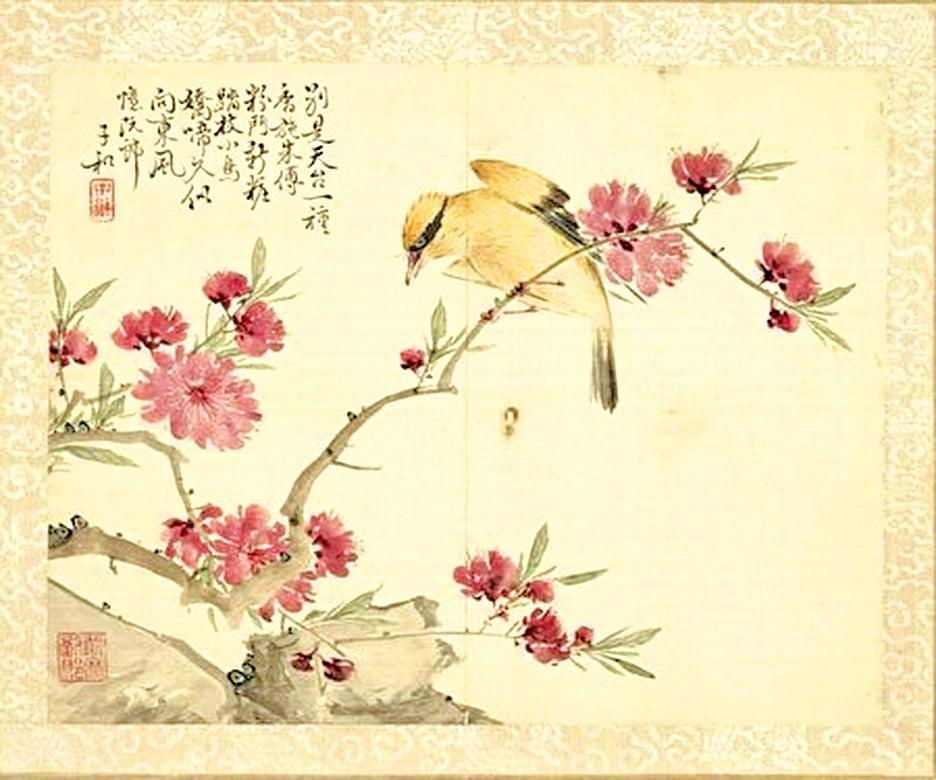 汪倫向李白解釋,何為「十里桃花」「萬家酒店」。圖為清‧劉德六《 黃鸝桃花》。(公有領域)