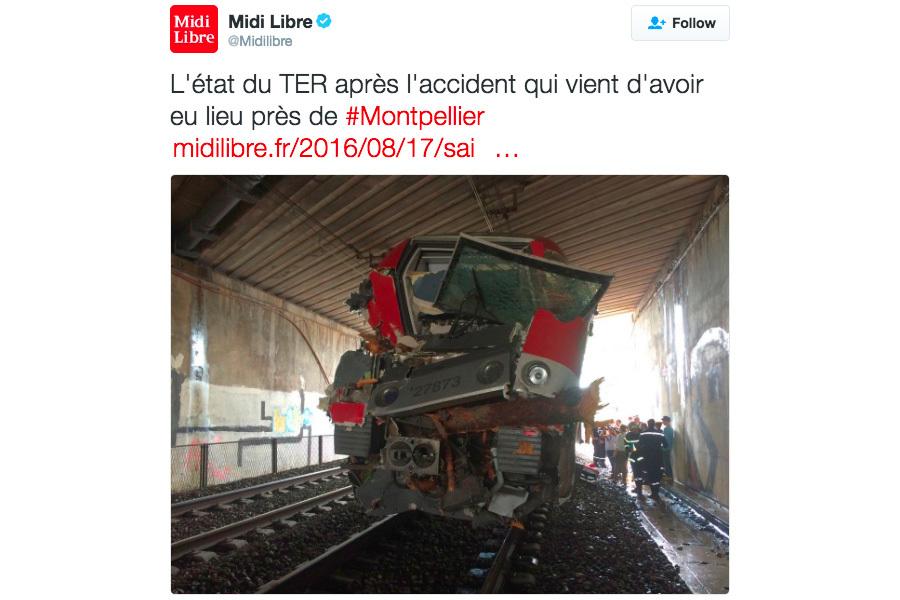 當地時間周三(8月17日)下午,法國一輛列車在猛烈的暴風雨中發生事故,造成至少60乘客受傷。(推特擷圖)