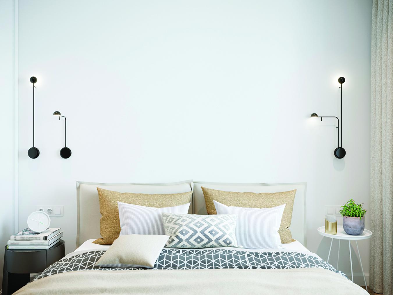 小臥室用小吊燈省空間,看起來很有特色。