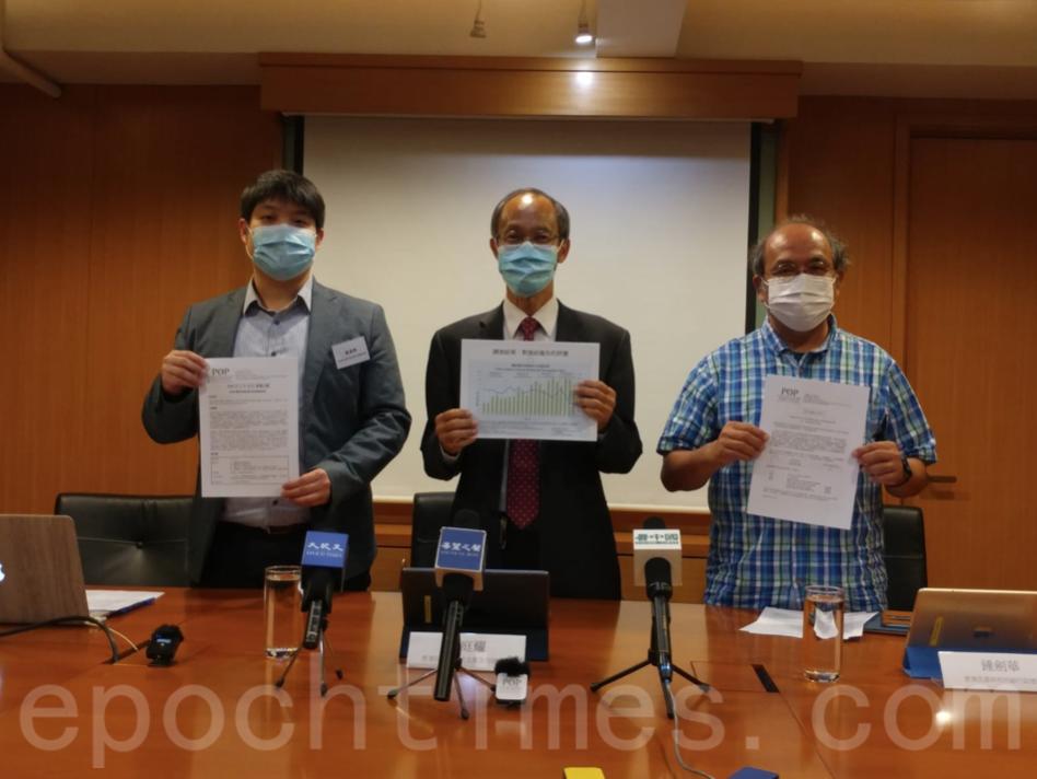 香港民意研究所26日公佈最新《施政報告》的即時調查結果。(Wendy/大紀元)