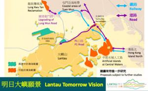 香港發展局局長黃偉綸鼓吹明日大嶼 環保團體抗議