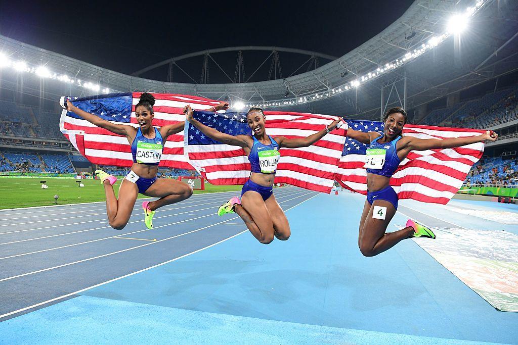 美國在女子100米欄包辦金銀銅牌。左起:Kristi Castlin、Brianna Rollins及Nia Ali。(FRANCK FIFE/AFP/Getty Images)
