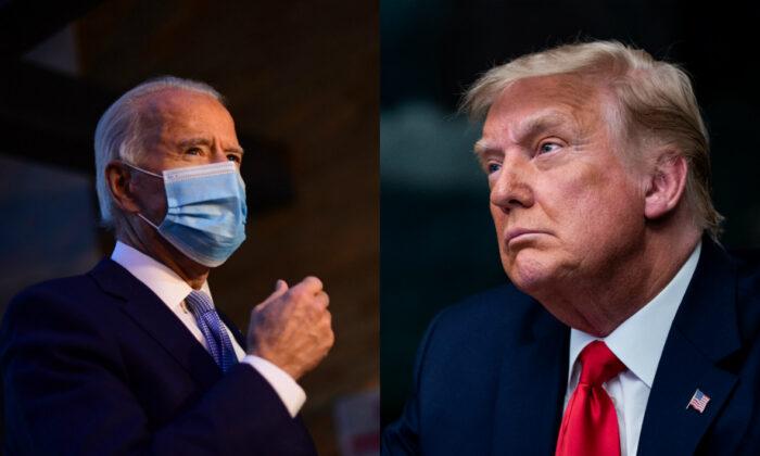 民主黨總統候選人拜登(左)與共和黨總統候選人特朗普。(Getty Images/大紀元合成)