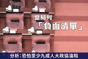 當局列「負面清單」分析:人大政協恐淪陷