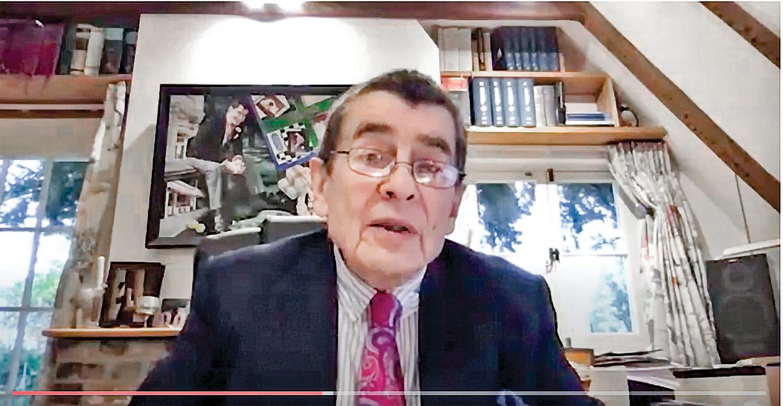 主持英國獨立人民法庭的英國御用大律師尼斯爵士(Sir Geoffrey Nice QC)出席了11月18日的華沙視頻會議。(會議視頻截圖)