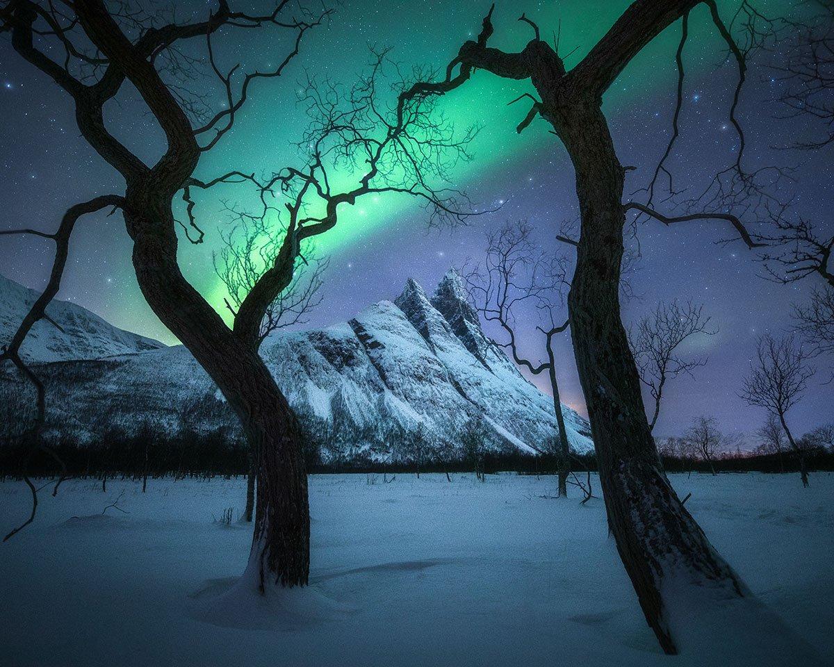 一下機便放棄休息時間,Kelvin當機立斷到挪威特羅姆瑟的取景地通宵拍攝的作品「Magical Night」。(受訪者提供)