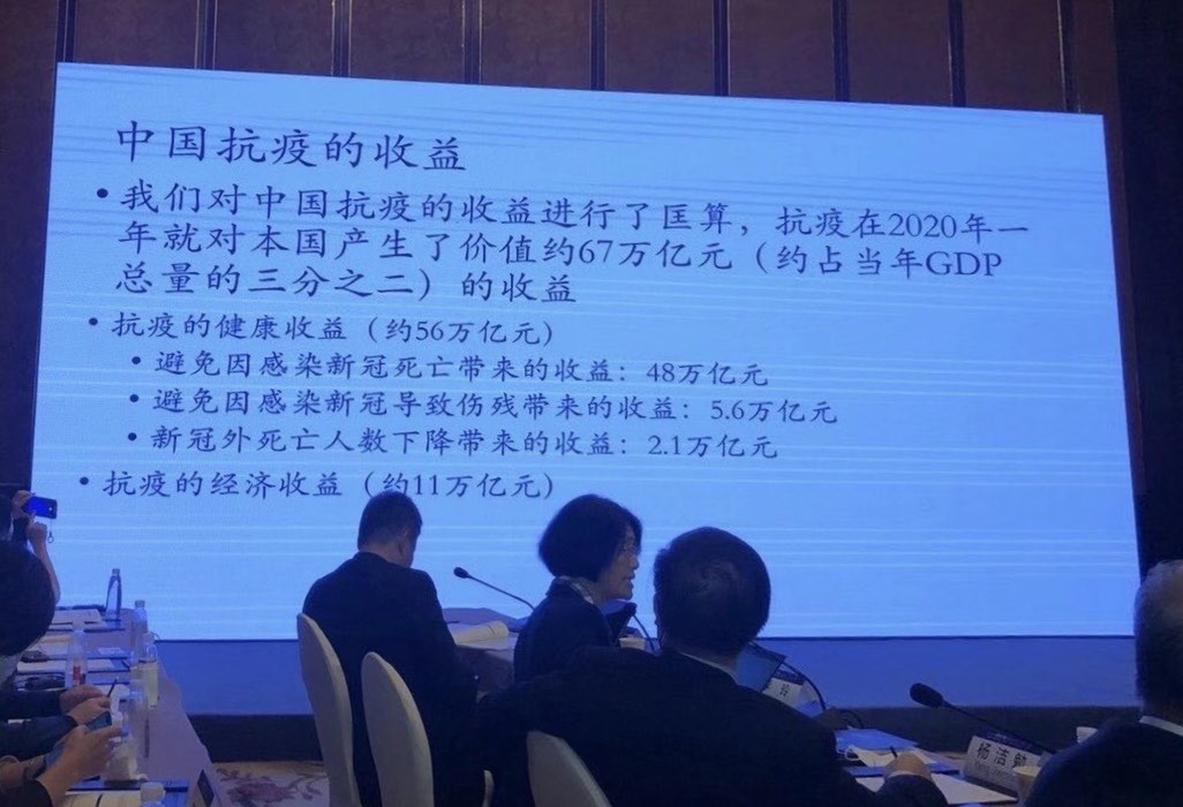 北大國家發展研究院教授李玲稱,今年大陸抗疫收益達67萬億元人民幣。圖為11月21日,李玲在廣州召開的2020年「讀懂中國」國際會議論壇上展示的PPT。(網絡圖片)