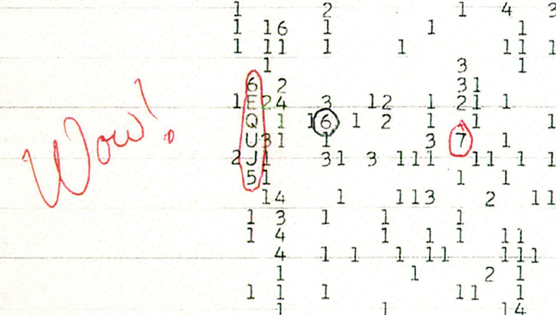 「 大耳朵」射電望遠鏡探測到的一段信號,被天文學家命名為「Wow !」。(Big Ear Radio Observatory and North American Astrophysical Observatory)